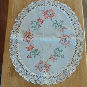 Hand Embroidered Cotton Doily